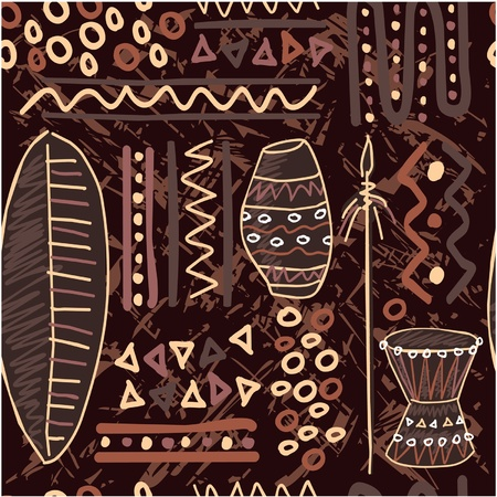 primitive art: Vector African Seamless Tile