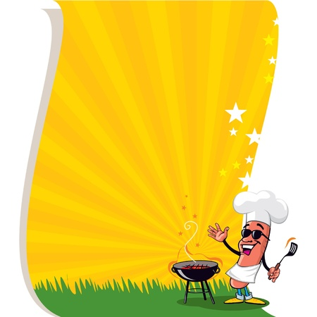 cartoon party: Vector Cool Barbecue Copy Space Poster Illustration