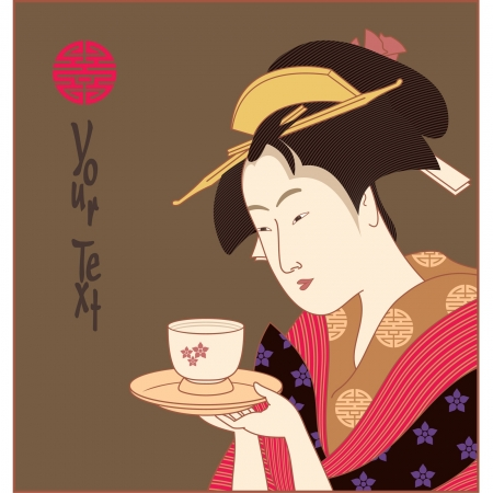 japanese art: Vector Japanese Geisha (traditional art style illustration)