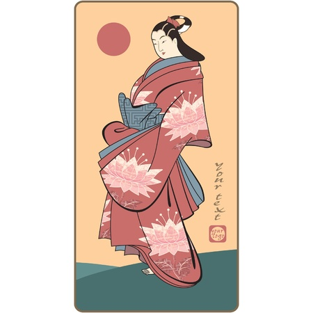 robe: Vector Japanese Geisha (traditional art style picture)  Illustration