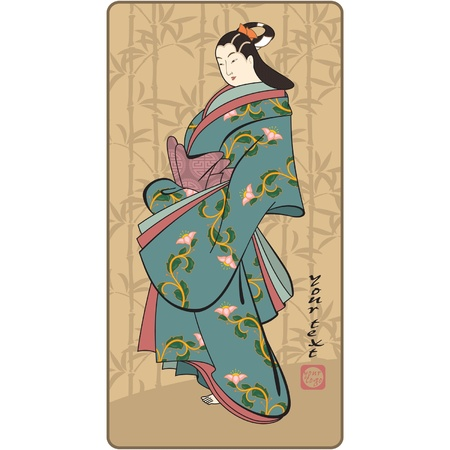 geisha kimono: Vector Japanese Geisha (traditional art style picture)  Illustration