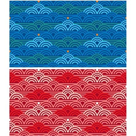 korean traditional:  Seamless Oriental Waves Tile