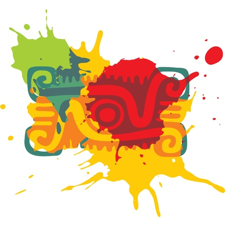 mexican culture:  Mexican Design Element. Paint splats.  Illustration