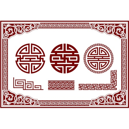 chinese border:  Set of Oriental Design Elements (frame, border, knot, ornament)