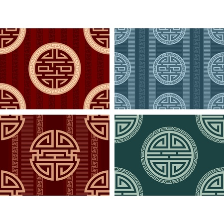 Set of Oriental Seamless Tiles Vector