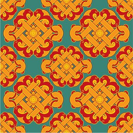korean traditional:  Seamless Oriental Tile (background, wallpaper, texture, pattern)
