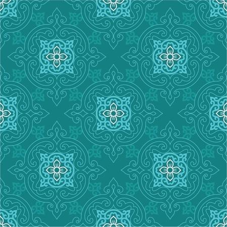 korean traditional: Seamless Oriental Tile (background, wallpaper, pattern, texture)  Illustration