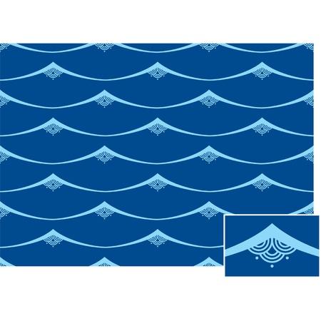 Seamless Oriental Waves Tile (background pattern wallpaper)  Vector