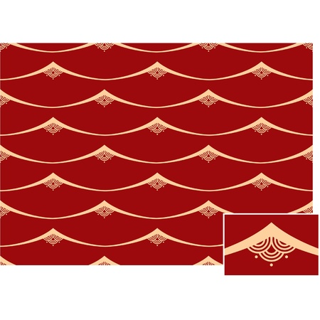 Seamless Oriental Waves Tile (background pattern wallpaper)  Vector