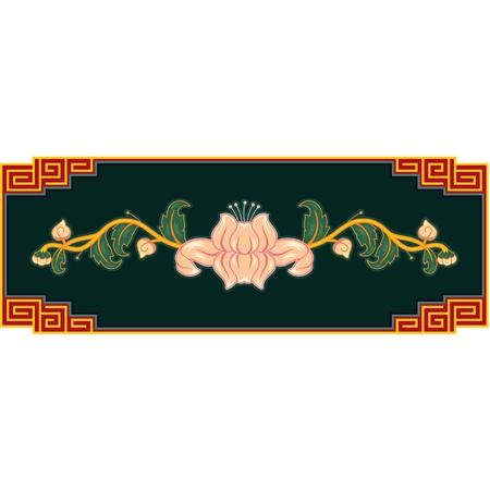 eastern culture: Oriental Flower Decoration  Illustration