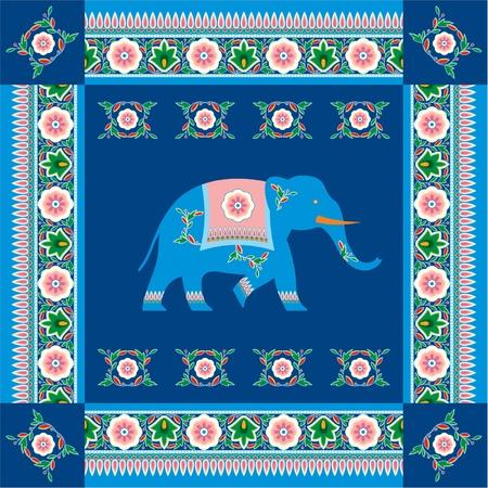 インド: 伝統的な模様の境界線のインド (ヒンズー教) 象