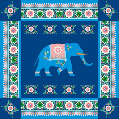 india culture:  Indian (Hindu) Elephant with Traditional Pattern Border