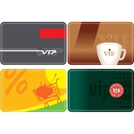Conjunto de descuento y tarjetas VIP Ilustración de vector