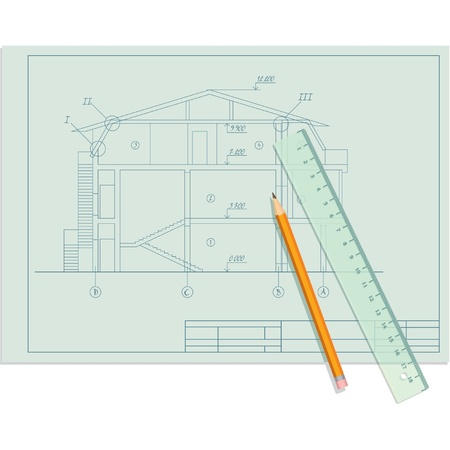 Architect Sketch of House with Pencil and Ruler Stock Vector - 11113872
