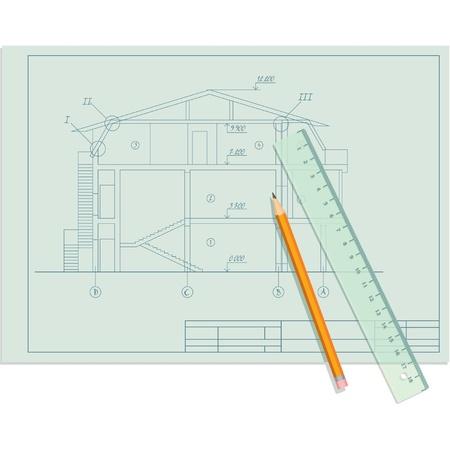 plan maison: Esquisse Architecte de la Chambre avec le crayon et la r�gle