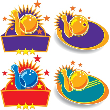 ten pin bowling: Bowling Emblem Set Illustration