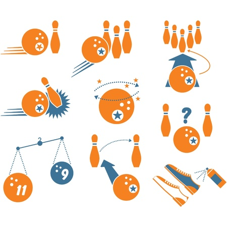Set of Bowling Icons  Stock Vector - 11113933