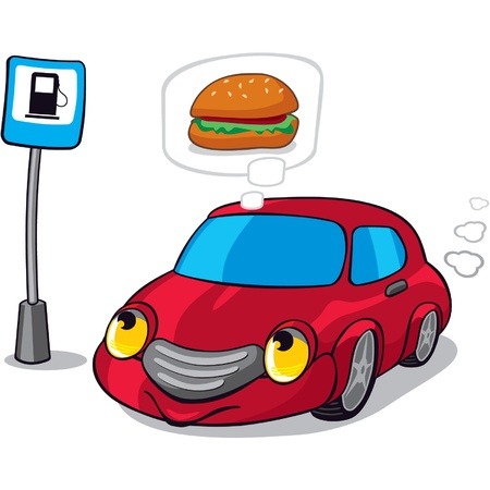 Cartoon Car Dreaming of Burger next to Fuel Station Sign  Stock Vector - 11113824