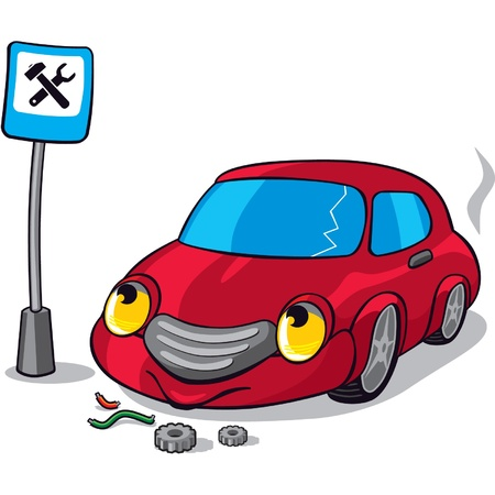 Broken Car next to Auto Service Road Sign  Vector