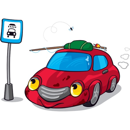 Cartoon Dirty Car junto a Road Sign Car Wash