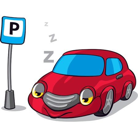 voiture parking: Sleeping Car � c�t� du signe Parking Illustration