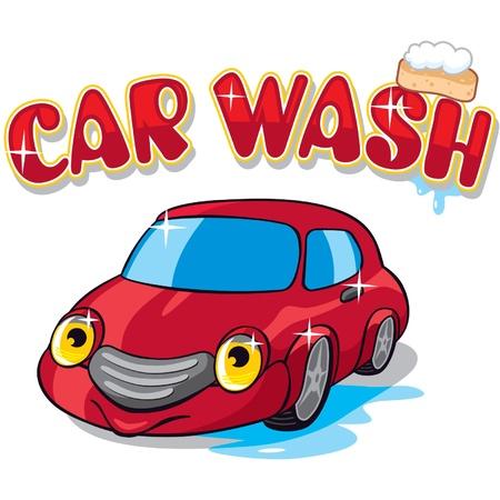 car wash: Cartoon Car with Car Wash Sign