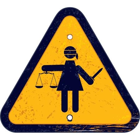 Warning Road Sign with Femida Stock Vector - 11113863
