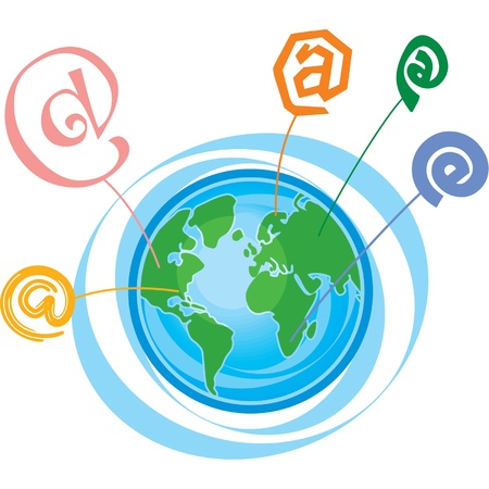 email communication: Earth with E-mail Communication Symbols