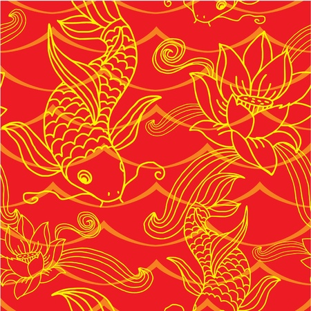 pez carpa: Sin fisuras de baldosas Oriental (fondo, papel pintado, textura, patr�n)