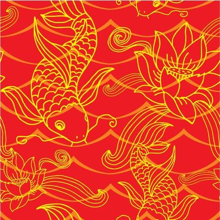 pez carpa: Sin fisuras de baldosas Oriental (fondo, papel pintado, textura, patrón)