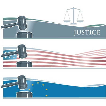 Judge Gavel on Flags Background  Illustration