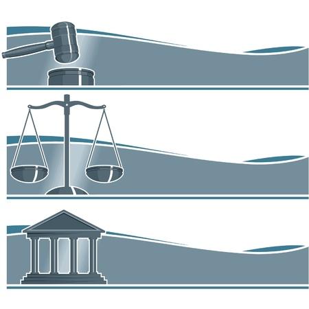 balance de la justice: Ensemble de Banni�res d'avocat Illustration