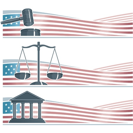 justice scales: Set of Attorney Banners on American Flag Background Illustration