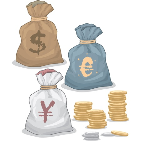 greenback: Money Bags with different Currency