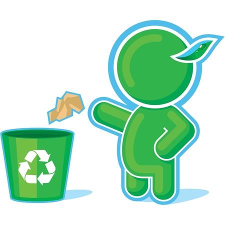 reciclaje de papel: Héroe verde tirando basura a los contenedores de reciclaje Vectores