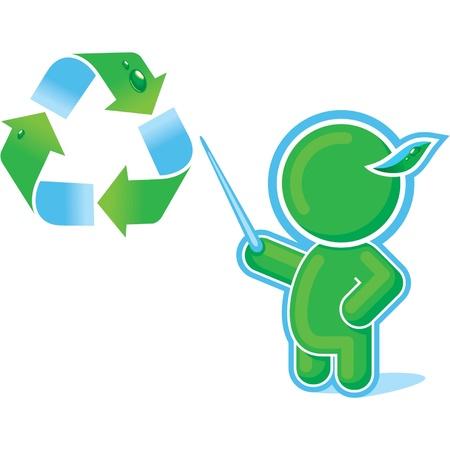 educacion ambiental: Héroe verde con el símbolo de reciclaje