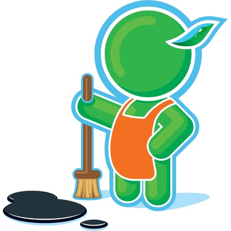 Green Hero at the Cleaning Job  Vector