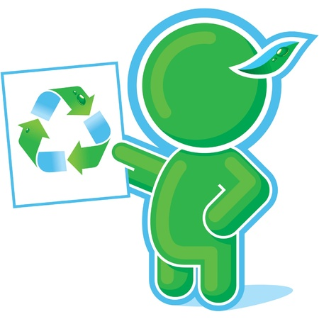 Green Hero showing Recycle Symbol  Vector