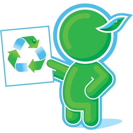 educacion ambiental: Héroe verde mostrando símbolo de reciclaje Vectores