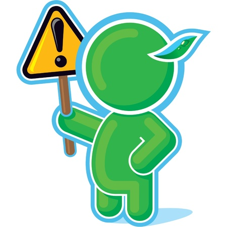 Green Hero handing Warning Sign  Stock Vector - 11113937
