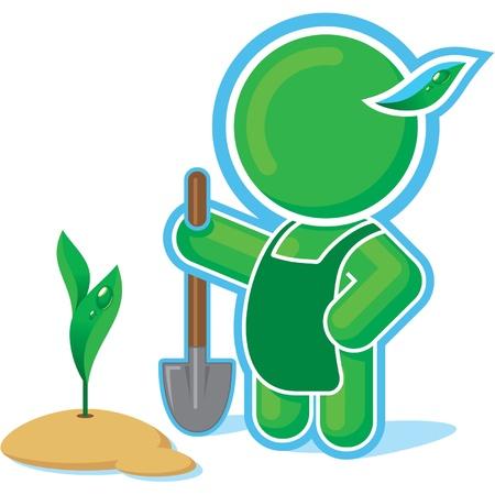 Green Hero working in the Garden Stock Vector - 11113921