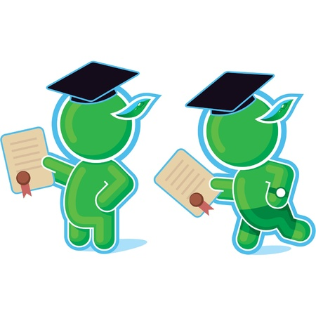 Green Hero Graduated with Diploma Vector
