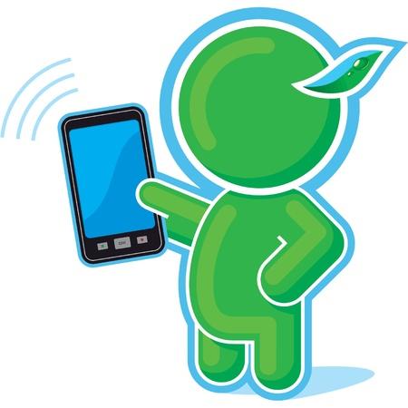 handing: Green Hero with Cell Phone, Mobile, Communicator Illustration