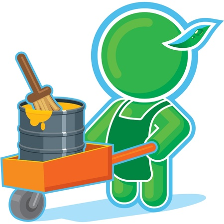 Green Hero with Paint in Cart  Vector