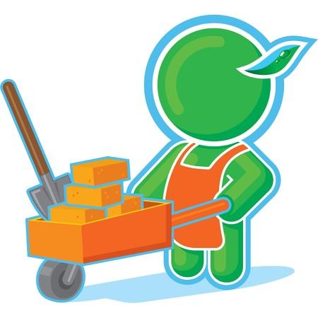 constructing: Green Hero with Cart of Bricks
