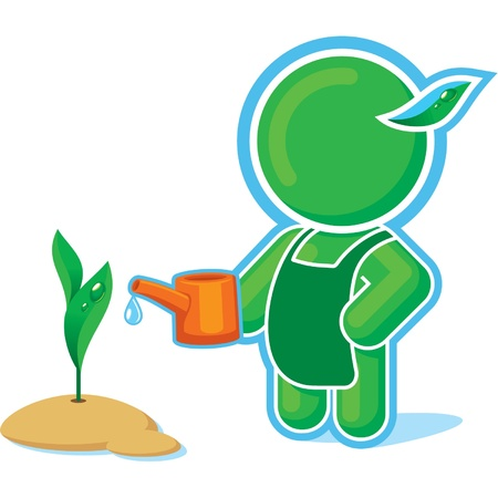Green Hero watering the Plant Stock Vector - 11113922