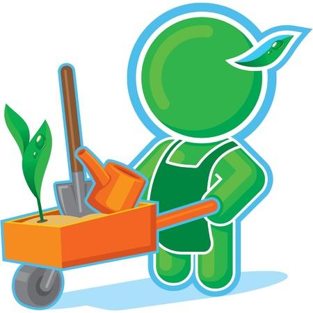 Green Hero with Garden Cart  Stock Vector - 11113917