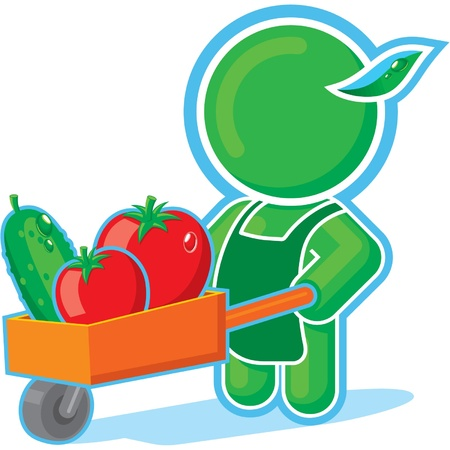 Green Hero with Harvest Cart  Vector
