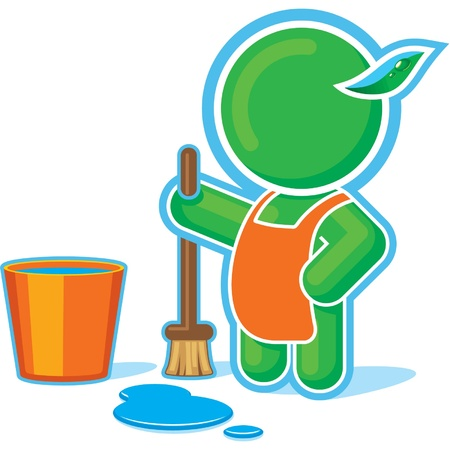 Green Hero Cleaning with Bucket of Water  Vector