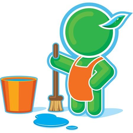 Héroe verde de limpieza con cubo de agua